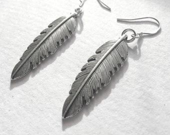Silver Feather Pendant Earrings