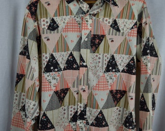 Vintage 1970s Patchwork Western Shirt with Horseshoe Buttons Sz L