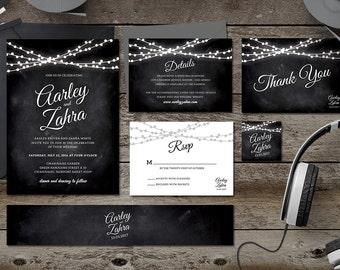 Simple Printable Wedding Invitation Suite, Save the Date, RSVP, Thank You, Details, Custom, Invitation Set, Blackboard, Bulb,Invitation Pack