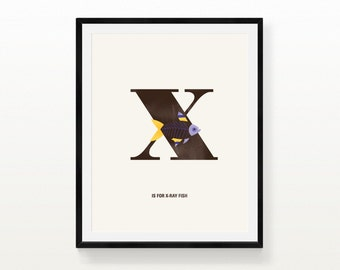 Printable Poster, X is for X-Ray Fish, Digital Alphabet Print, Instant Download, Modern Nursery, Animal, Typography, Letter