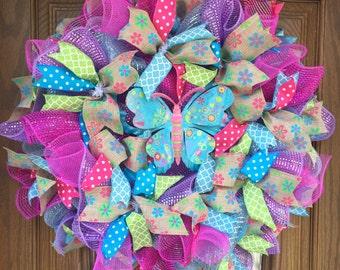 Summer butterfly wreath