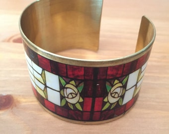 Stained Glass Roses Cuff Bracelet