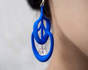 3d printed earring, blue, with white bead