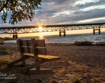 Mackinac Bridge, Fine Art Photography, Wall Art, Decor, Straights of Mackinac, Great Lakes, Sunset,  Beach, Pure Michigan