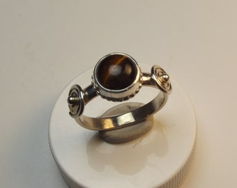 tiger eye, sterling silver ring,