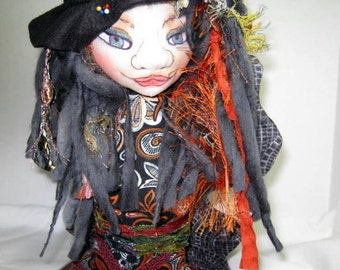 Fairy Witch Doll Bust OOAK, Cloth Art Doll Head Figure, Halloween Bust Art Doll