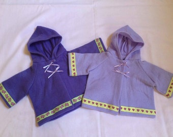 Dolls Clothes,Set of Two Dolls Fleece Jackets, fit 18inch Baby Doll