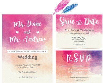 Soft Wedding Invitation - Love in Pink