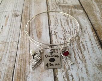 "Bangle bracelet-""Dreaming of the sea"", beach gift"