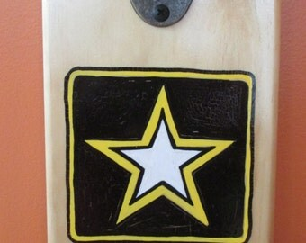 Army Wall Mounted Wooden Magnetic Bottle Opener with magnetic cap catcher bottle cap catching opener