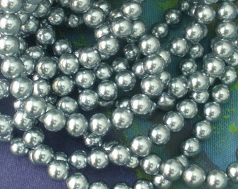Pearl Gray  Beads/ Gray Acrylic Beads/ Gunmetal Beads/ 8mm Beads/ Luminescent Beads/ Pearlized Beads BE104