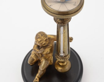 Victorian Combined Brass Thermometer and Compass Desk Ornament (ID 48069)