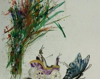 Innocent when you dream,Watercolor,Greek fine art,Anastasios