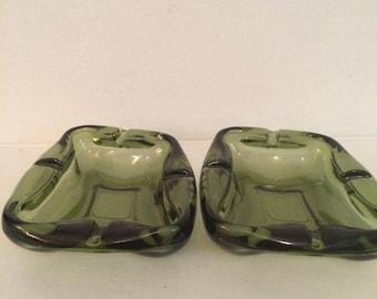 Vintage green glass ashtrays set of 2 unique shaped ashtrays heavy green glass ashtrays