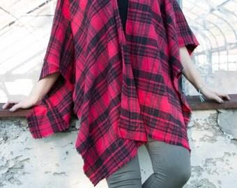 Handmade plaid poncho cape red plaid flannel wrap