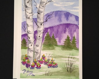 DWEISS WATERCOLORS-Handpainted Greeting Cards-Mountain Birch Trees #00429