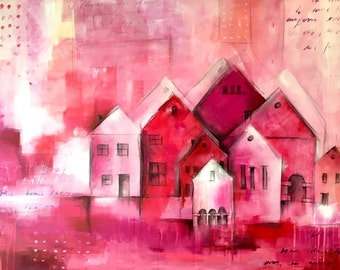 Large pink/pink abstract paintings on canvas - 80 x 120 cm, modern art, abstract art, mural, painting