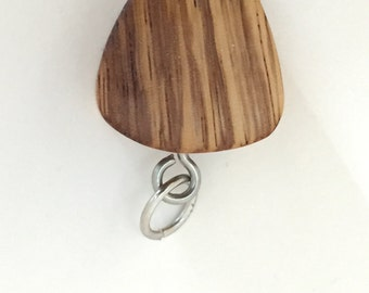 Zebra Wood Guitar Pick Pendant
