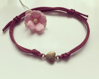 Herz waxed cotton vintage, statement, on a bracelet in Burgundy, blogger, love, love, bordeaux