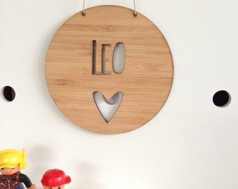 Personalised Name Wooden Wall / Door Hanging - Heart