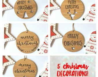 Merry Christmas Wood Christmas Decoration / Ornament 5 PACK!