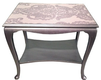 Upcycled, hand painted, silver side table, with decoupaged Top.