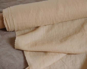 Pure 100% linen fabric, stone washed linen, soft linen fabric,Peach puff linen fabric,yellow-peach linen.