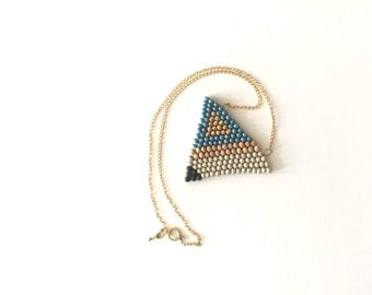Beaded blue necklace, Triangle necklace, Tribal necklace, geometrical necklace, Geometrical jewelry, Gift for her