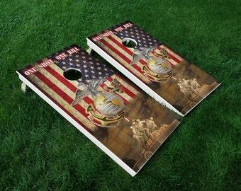 Military 01 Marines USMC Mark Cornhole Wrap Decal Sticker SET of 2 PRINTS