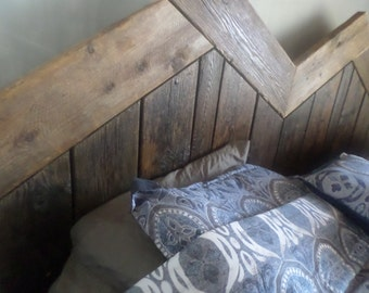 Reclaimed Wood Chevron/herringbone mix pattern Headboard King size