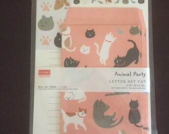 Cat stationary letter set, 12 sheets of paper and 6 envelopes and stickers