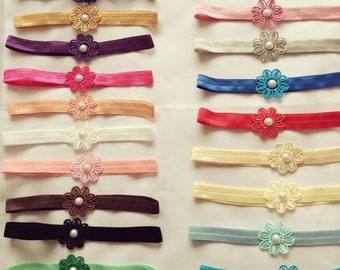 19 Colours Wholesale Handmade Baby Headbands Flower With Pearl Newborn Photography + Lot Made in UK