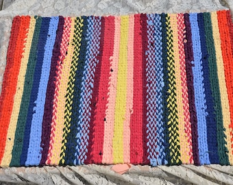 Handmade Twined/Woven Rag Rug Diverse Bright Colors