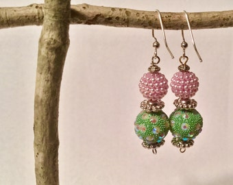 dangle earrings, sparkle earrings, large ball earrings, purple earrings, green dangle earrings, drop earrings, pink dangle earrings