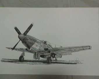 Print - P-51 Limited Edition 327/2000 signed 89 by Joe Plummer * flu1102