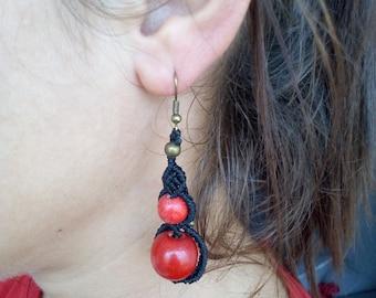 Earrings in macrame, handcrafted jewelry