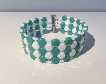 White and blue green honeycomb bracelet
