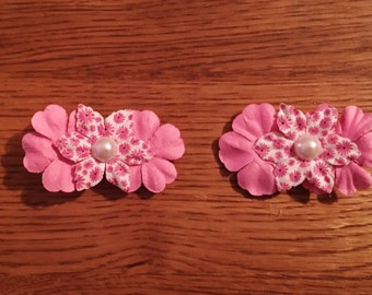 Handcrafted Hair Clips - Pink and multicolor flowers with pearl accent in center. Pink fabric covered alligator hair clip,handcrafted
