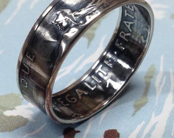 1898 to 1920 France 1 Franc Coin Ring 83.5% Silver
