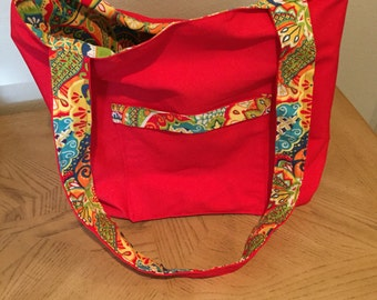 Red, yellow, and blue tote