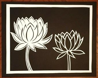White and Black Lotus Papercut