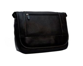 Leather Messenger Bag, Laptop Bag Black.