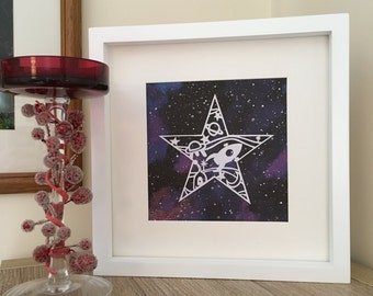 Space art, papercut, stars, spaceship, planets, framed, printed space paper, night sky, hand cut