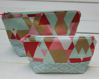 Makeup bag, purse organizer, toiletry bag, zipper pouch, clutch, pink, mint, and gold
