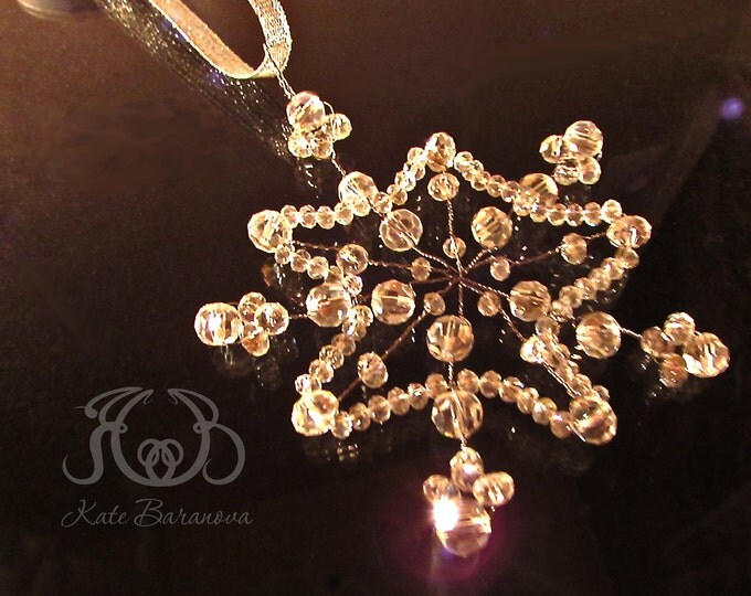 Christmas Snowflake Glass Ornament, Tree Decoration, Winter wonderland, Hanging holiday decor, Beaded Swarovski Crystal, xmas, Silver