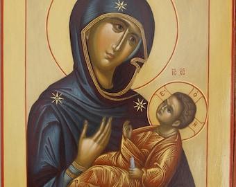 Mother of God  Byzantine orthodox icon egg tempera Богородица с Младенцем Византийская икона яичная темпера Венчальная пара