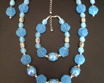 Blue Rose Garden 3 piece Necklace Set