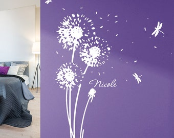 Wall flower and your name - dandelion wall sticker wall sticker wall decoration dandelion floral wall decal decor vinyl name w707a