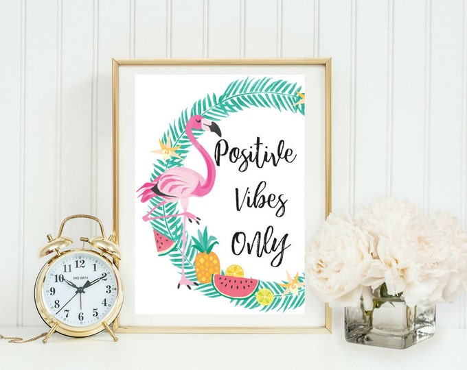 Positive Vibes Only | Typographic Print | A4 Printable (Law Of Attraction)