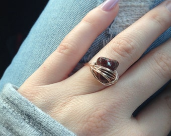 Starry Jasper copper wire wrapped ring